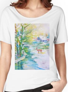 Watercolor Snow Scene Painting, snow, stream, cottage and deer Women's Relaxed Fit T-Shirt