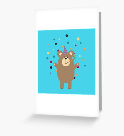 Party Brown bear Greeting Card