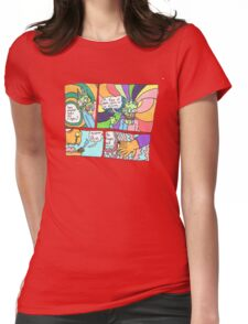 Psychedelic Finger Comic Womens Fitted T-Shirt