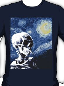 Skull with burning cigarette on a Starry Night T-Shirt
