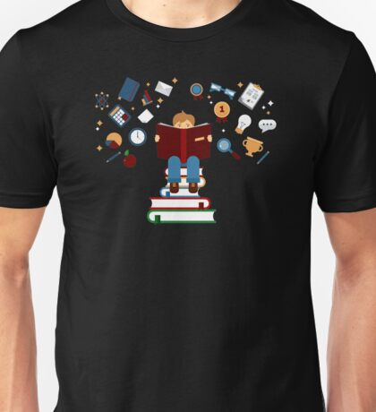 Concept of Education with Reading Books Unisex T-Shirt