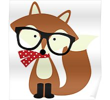 Holiday Hipster Fox Poster