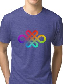 Infinity knot in rainbow gradient Tri-blend T-Shirt