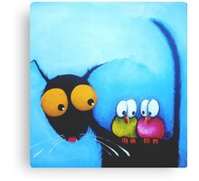 Stressie Cat and the Whimsical Birds Canvas Print