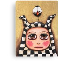 The Harlequin girl & crow Canvas Print