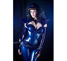 Blue latex corset 01 Photographic Print