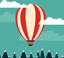 Hot air ballon illustration by anthesis