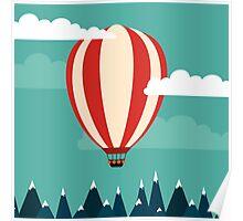 Hot air ballon illustration Poster