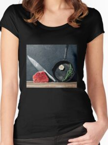 Cooking beef steak Women's Fitted Scoop T-Shirt