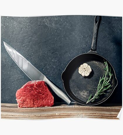 Cooking beef steak Poster