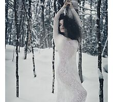 Woman in white lace dress in snowy winter nature scenery art photo print Photographic Print