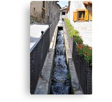 stream passing through the houses Canvas Print
