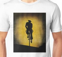 SILHOUETTE CYCLIST; Vintage Bicycle Riding Print Unisex T-Shirt