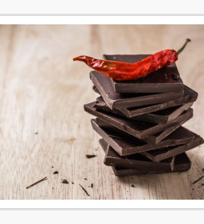 Chili on the stack of chocolate bars Sticker