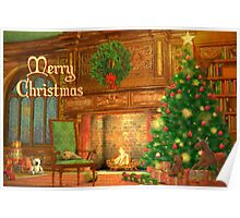Fireplace Christmas Card - Merry Christmas Poster