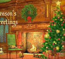 Fireplace Christmas Card - Seasons Greetings by Sol Noir Studios