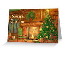 Fireplace Christmas Card - Seasons Greetings Greeting Card