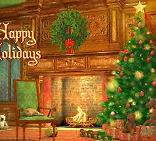 Fireplace Christmas Card - Happy Holidays by Sol Noir Studios