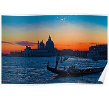 Italy. Venice. Santa Maria della Salute. Sunset. Poster