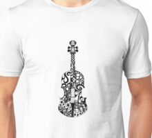 Black and White Violin Zentangle Unisex T-Shirt