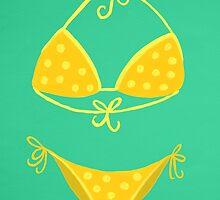Yellow Polka Dot Bikini on Mint by Cat Coquillette