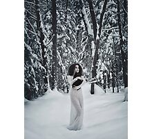 Woman in white dress walking in snow with a black cat in her hands art photo print Photographic Print