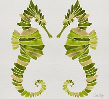 Seahorse – Lime & Gold by Cat Coquillette