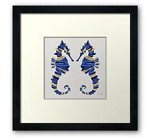 Seahorse – Navy & Gold Framed Print