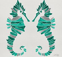Seahorse – Turquoise & Silver by Cat Coquillette
