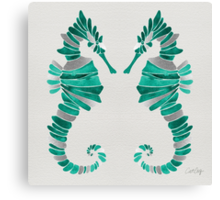 Seahorse – Turquoise & Silver Canvas Print