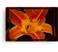 Closeup Wth A Vibrant Orange Lily Abstract Flower Canvas Print