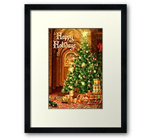 Tree and Presents Christmas Card - Happy Holidays Framed Print