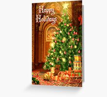 Tree and Presents Christmas Card - Happy Holidays Greeting Card