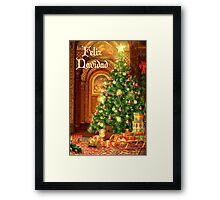Fireplace Christmas Card - Feliz Navidad Framed Print