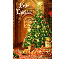 Fireplace Christmas Card - Feliz Navidad Photographic Print