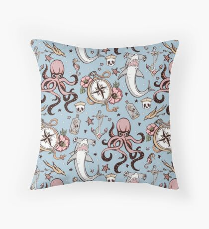 Blue Sea Creature Pattern Throw Pillow