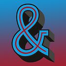 Red/Blue Ampersand 'AND' Symbol Retro Print by Kelsorian