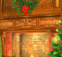 Christmas Fireplace Sticker