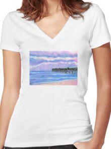 Flagler Beach Pier' Women's Fitted V-Neck T-Shirt