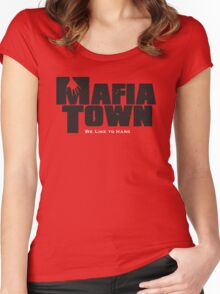 Mafia Town Logo (Black/White) Women's Fitted Scoop T-Shirt
