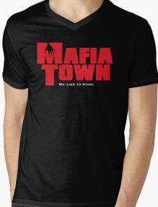 Mafia Town Logo (Red/White) Mens V-Neck T-Shirt