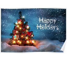 Cute Tree Christmas Card - Happy Holidays Poster