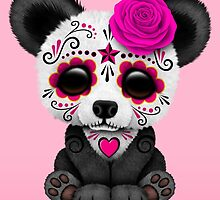 Pink Day of the Dead Sugar Skull Panda by Jeff Bartels