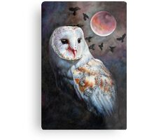 Owl of the Blood Moon Heart Metal Print