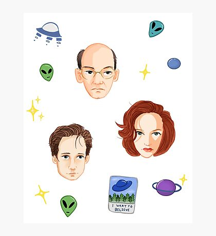 X Files - FBI Agents Photographic Print