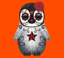 Red Day of the Dead Sugar Skull Penguin  Kids Clothes