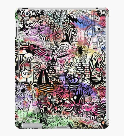 ironic chaos -  (black and white with color) iPad Case/Skin