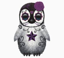 Purple Day of the Dead Sugar Skull Penguin  One Piece - Short Sleeve