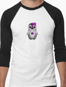 Purple Day of the Dead Sugar Skull Penguin  Men's Baseball ¾ T-Shirt