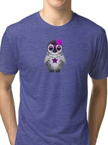 Purple Day of the Dead Sugar Skull Penguin  Tri-blend T-Shirt